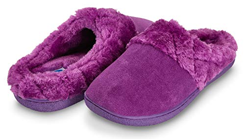 Suede Microfiber Clog (Floopi Women's Memory Foam Slippers Deluxe Clog Scuff/Mule House Slip-Ons for Indoor & Outdoor Use| Warm & Fuzzy w/Velour Fur Lining, Quilted Collar Slipper & Anti-Skid Hard Sole (M, Purple-304))