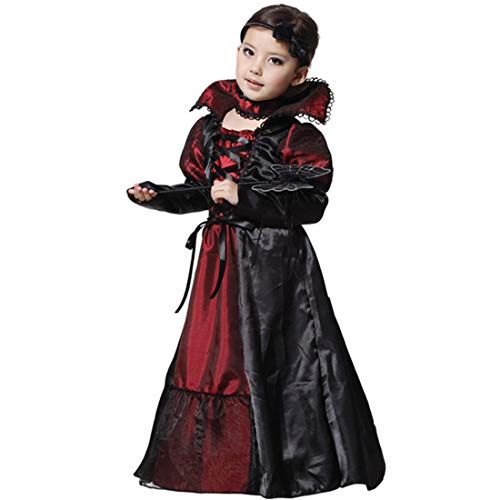 Party Hats - Girls Fairy Halloween Cosplay Witch Costume Vampire Evil Queen Long Dress Party Decoration M X Xl - Rose Color Novelty Of Glitter Army Little Jesus Ray Ginger ()