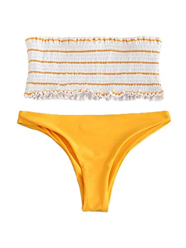 Voopptaw Women Cute Frill Trim Shirred Crop Bikini Striped Print Bandeau Highcut Bathing Suit Swim Yellow Small