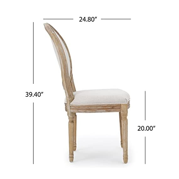 Christopher Knight Home 300258 Phinnaeus Fabric Dining Chairs, 2-Pcs Set, Beige - This traditional dining chair is perfect for any dining room. Featuring distressed wood with soft edges along the chair, it is sure to Complement any Classic Décor. The extra plus seating also provides maximum comfort while dining, giving your dinner parties an instant win. Includes: two (2) dining chairs Material: fabric (100% polyester), rubberwood   color: Beige, natural Finish - kitchen-dining-room-furniture, kitchen-dining-room, kitchen-dining-room-chairs - 41JjAGEPZyL. SS570  -