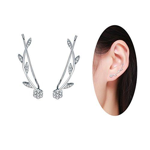 BAMOER 925 Sterling Silver Olive Leaves Crawler Earrings Climber Ears for Women Teen Girls Fashion Earrings