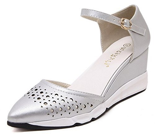 Pointed Work Office Slope Female HYLM Comfortable Shoes With Sandals Sandals New silver Shoes wqxOgnfWAT