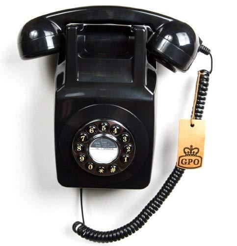 (GPO 746 Retro Wall Push Button Telephone Black)