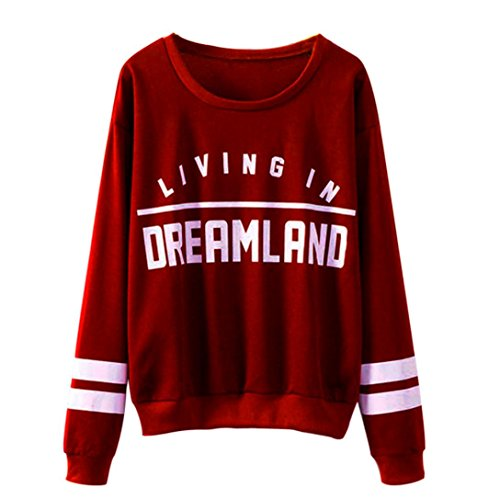 Fheaven Women Letters Dreamland Printed Round Neck Hedging Cotton Blouse (M, Red)