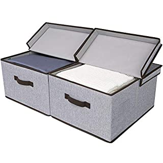 StorageWorks Storage Baskets with Lid and Handles, Decorative Storage Boxes with Lids, Graphite Gray, 2-Pack