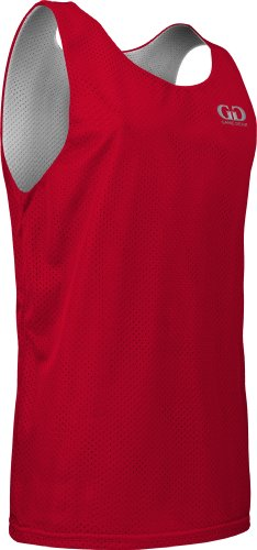 Men's Tank Top Jersey-Uniform is Reversible to White-Great for Basketball, Football, Soccer, Lacrosse, and Practices-Colors available in Black, Green, Royal, Red, Navy and More-Sizes SM-XXXL (Medium, Red/White)