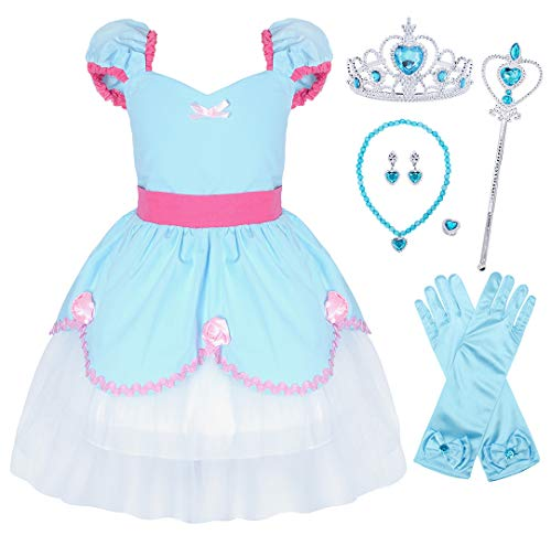 AmzBarley Cinderella Costume for Girls Princess Dress Up Toddler Halloween Holiday Party Fancy Dress Birthday Outfit Preschool Role Play Clothes with Accessories Size 3T