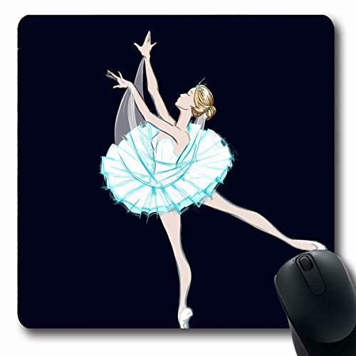 Ahawoso Mousepads Bun Artistic Ballet Dancer Girl White Figure Tutu Dress Ballerina Design Music Oblong Shape 7.9 x 9.5 Inches Non-Slip Gaming Mouse Pad Rubber Oblong Mat ()