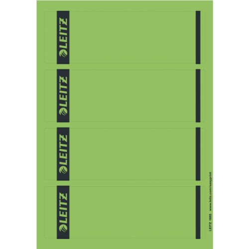 Leitz Pc Printable Self Adhesive Spine Labels for Standard 80 Mm Lever Arch Files, Wide and Short, 61.5 X 192 Mm, Paper, 16852055 - Green, Pack of 100