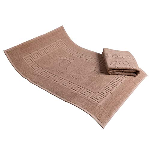 Secret Sea Collection  Set of 2 High Quality 100% Soft Cotton Super Absorbent Footprint Bath Mat Towel Foot Towel Bath Mat for Shower and Floor 20#039#039x28#039#039 Brown