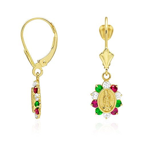 14k Yellow Gold Simulated Ruby, Emerald & CZ Multicolor Gemstone Halo Virgin Guadalupe Oval Dangle Leverback Earrings 1.06'' by WJD Exclusives
