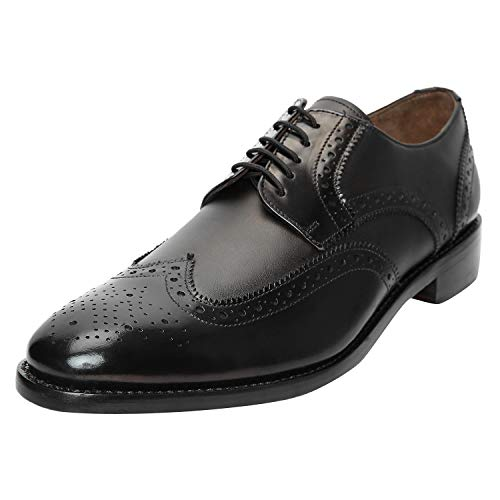 Black Italian Leather Wingtip - DLT Men's Genuine Imported Leather with Leather Sole Goodyear Welted Oxford Dress Shoes (13, Black Smooth)