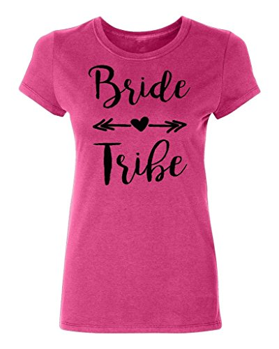 P&B WEDDING BRIDAL PARTY GEAR BRIDE TRIBE Women's T-shirt, L, Cyber Pink (New Tribe)