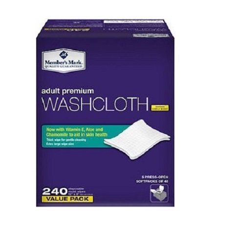 Members Mark Adult Washcloths 240ct 20 Units