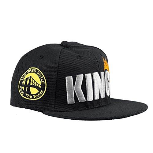 Baseball Humor Cap - MA&BABY Infant & Toddler Hip Hop Snapback Flat Brim Hats Lettre King Cap (Black)