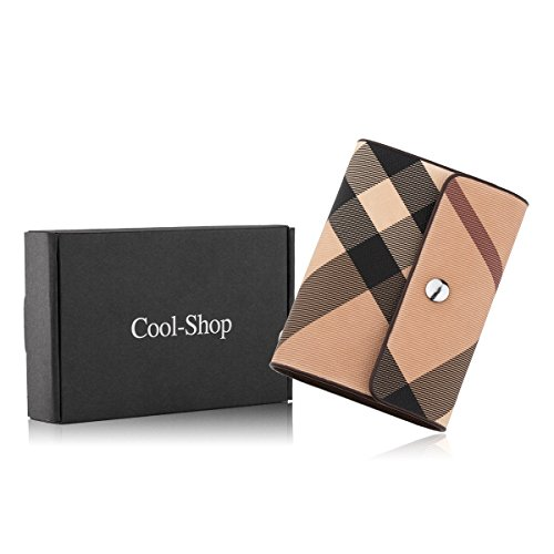 Cool-Shop Book Style Leather Credit Card or ID Holder Case, 26 Cards (Plaid)