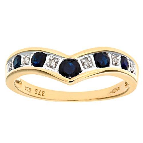 Bague Femme - Or jaune (9 carats) 2.3 Gr - Saphir - Diamant 0.02 Cts