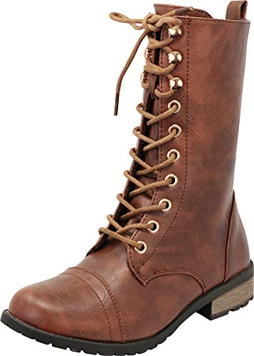 Cambridge Select Women's Round Toe Lace-up Low Heel Combat Boot,9 M US,Brown Pu
