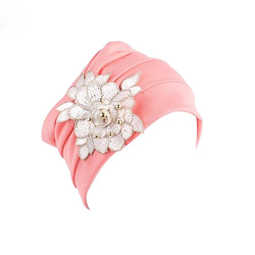 Unpara Muslim Turban for Women India Africa Elastic Cap Appliques Hat Head Scarf Wrap (Applique Hat)