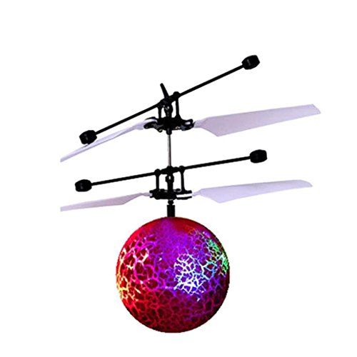 Leegor RC Toy Epoch Air RC Flying Ball, RC Drone Helicopter Ball Built-in Shining LED Lighting for Kids Teenagers Colorful Flyings for Kids Toy Christmas Gift (Red)