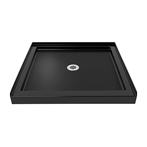 DreamLine SlimLine 36 in. D x 36 in. W x 2 3/4 in. H Center Drain Single Threshold Shower Base in Black