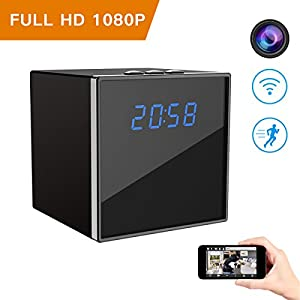 Hidden Spy Camera, Corprit Wireless Clock Nanny Cam HD 1080P Home Security Camera Mini Cam with WiFi Remote View, Motion Detection Alarm, Loop Recording