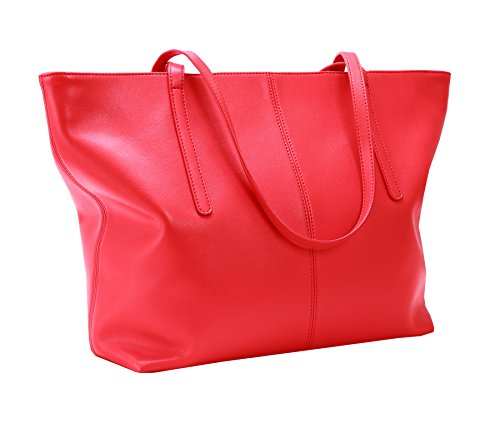 Large Silver Hardware - Heshe Women's Leather Handbags Work Totes Bag Top Handle Bags Shoulder Handbags Ladies Purses (Jester Red)