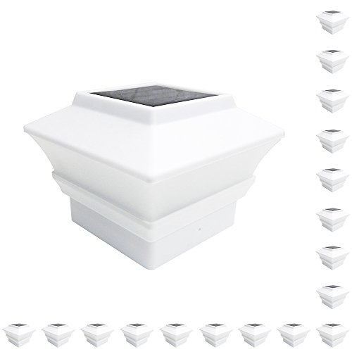 iGlow 18 Pack White Outdoor Garden 4 x 4 Solar LED Post Deck Cap Square Fence Light Landscape Lamp Lawn PVC Vinyl Wood by iGlow