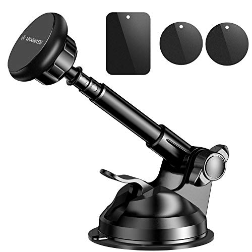(VANMASS Magnetic Phone Car Mount, Universal Phone Holder for Car Dashboard and Windshield, 360° Rotation with 6 Strong Magnets and Metal Telescopic Arm, Compatible with 3.5