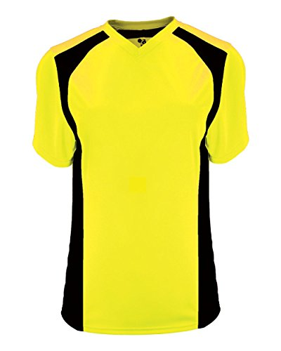 Custom V-neck Jersey Soccer (Power Yellow/Black Ladies Medium (Blank Back) Moisture Wicking V-Neck Shirt/Uniform Jersey Top)