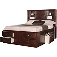 Queen Bed with Two Centered Stacked Drawers in Espresso by Poundex