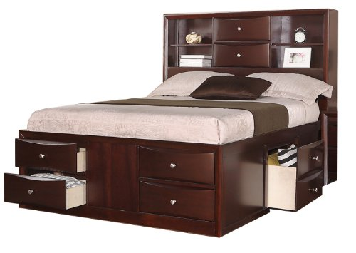 Queen Bed with Two Centered Stacked Drawers in Espresso by Poundex (Frame Headboard With Mirror Bed)
