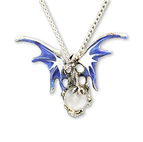 Mystical Blue Dragon Holding Crystal Ball Pendant Necklace