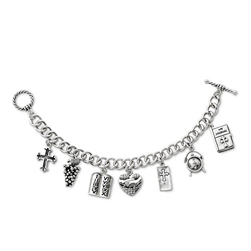 - 925 Sterling Silver Answered Prayer 7.5in Locket Charm Bracelet