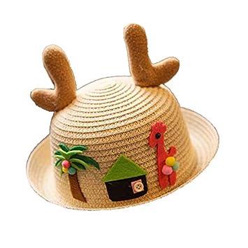 Kanggest.Sombrero de Paja de ala Ancha con Cornamenta Verano Gorra Sombrero Anti UV Solar para Viaje Playa para Beb/é Ni/ñas Ni/ños 2-5 a/ños-Amarillo