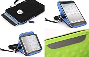 SALE 75% Off - AYL Padded Neoprene 7 Inch Tablet Zip Sleeve Case Cover with Built-in Landscape / Portrait Viewing Stand - Black / Blue