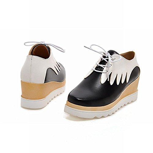 Latasa Plate-forme Chic Milieu Talon Compensé Oxfords Chaussures Noir