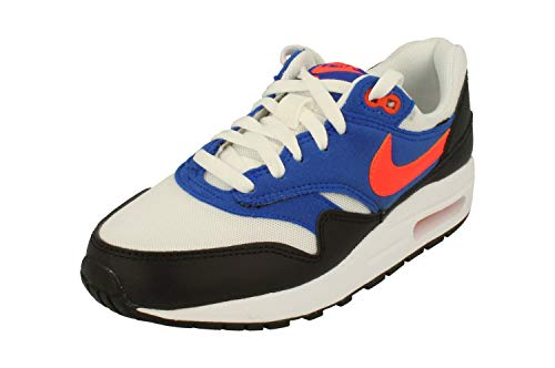 Nike Air Max 1 BG Junior Trainers AR1180 Sneakers Shoes (UK 5.5 us 6Y EU 38.5, Black Total Crimson Racer Blue 001)