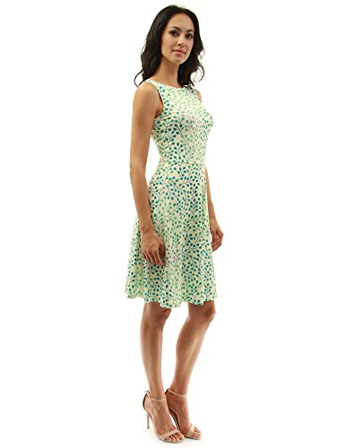 PattyBoutik Women's Keyhole Back A-Line Dress (Light Yellow and Green 18 S)