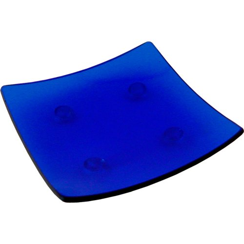- 3.5-inch Square Glass Plate Cobalt Blue (each)