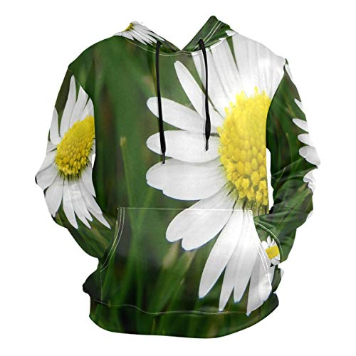 3D Hoodie White Daisy Flower Pullover Hooded Sweatshirts Long Sleeve -
