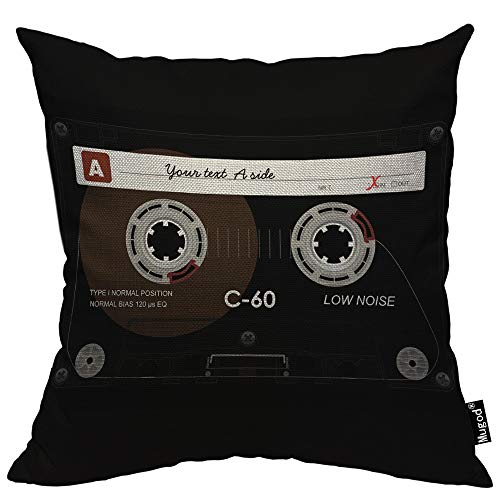 Mugod Retro Audio Cassette Throw Pillow Music Record Player Low Noise 80s Plastic Tape Cotton Linen Square Cushion Cover Standard Pillowcase 18x18 Inch for Home Decorative Bedroom/Living Room/Car ()