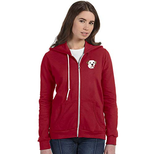Cherrybrook Breed Embroidered Anvil Full Zip Ladies Hoodie - Small - Independence Red - American Bulldog ()