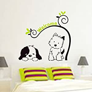 Domire Cartoon (Lovely Cat and Dog) Wall Decal Decor Sticker Removable Wall  Decal For Baby Boys and Girls Nursery Children\'s Bedroom Kids Room ...