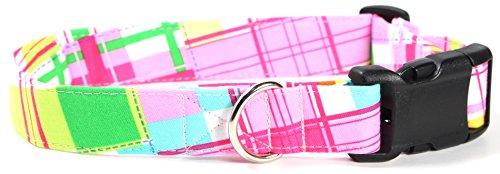Summer Shirt Pattern Designer Dog Collar, Adjustable Handmade Fabric Collars (M) (Custom Designer Dog Collar Collars)