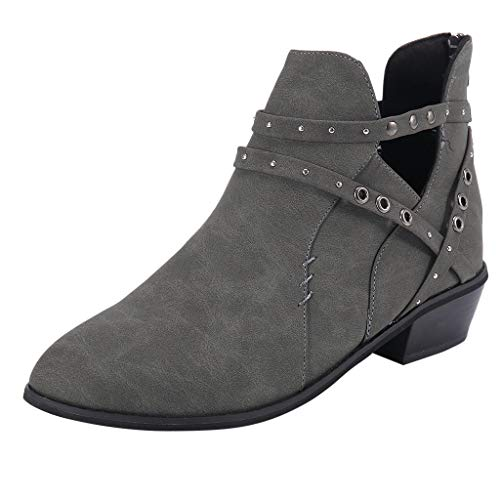 Kauneus Women's Comfortable Perforated Boots Closed Toe Cut-Out Buckle Casual Ankle Booties with Stacked Block Heel Gray