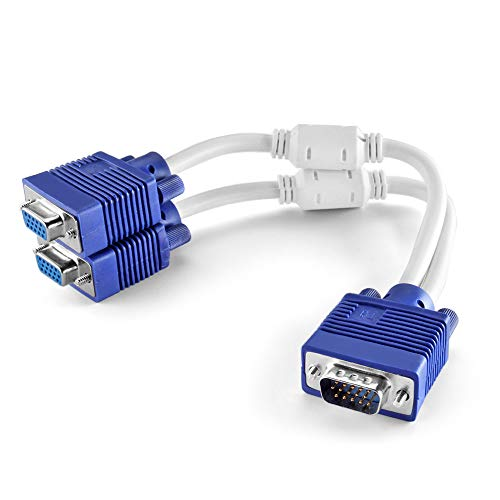 TNP VGA Splitter Cable (1 Feet, 0.3 Meters) 1 Male to 2 Female 15 Pin VGA Monitor Adapter Y Cable Cord Screen Duplication, Ideal Security Monitors, Conference Room Presentations, Offices