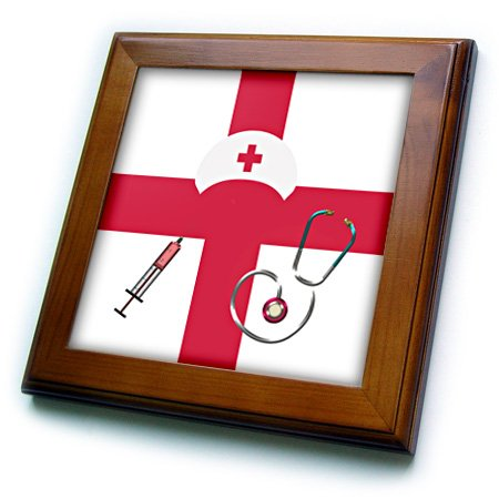 3D Rose Nurse Cap-Syringes-and Stethoscopes on First Aid Red Cross Framed Tile, 8