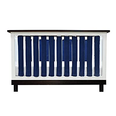 Image of Baby Pure Safety Vertical Crib Liners 38 Pack in Luxurious Navy Minky