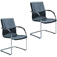 Boss Office Products B9530-2 Chrome Frame Black Vinyl Side Chair 2 Pack in Black